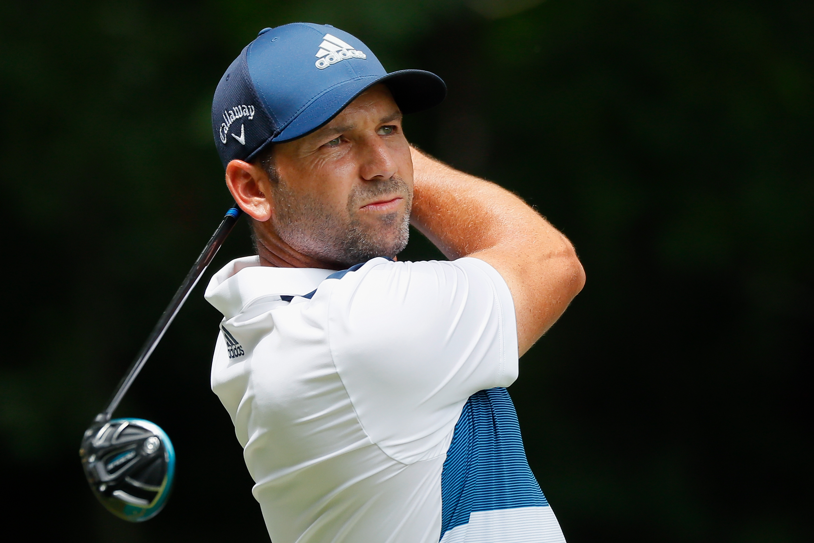 GREENSBORO, NC - AUGUST 18:  Sergio Garcia of Spain plays his shot from the second tee during the third round of the Wyndham Championship at Sedgefield Country Club on August 18, 2018 in Greensboro, North Carolina.  (Photo by Kevin C. Cox/Getty Images)